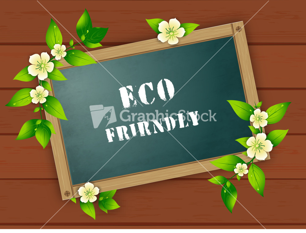 Abstract Eco Friendly Poster Decorated With Green Leaves On Wooden ...