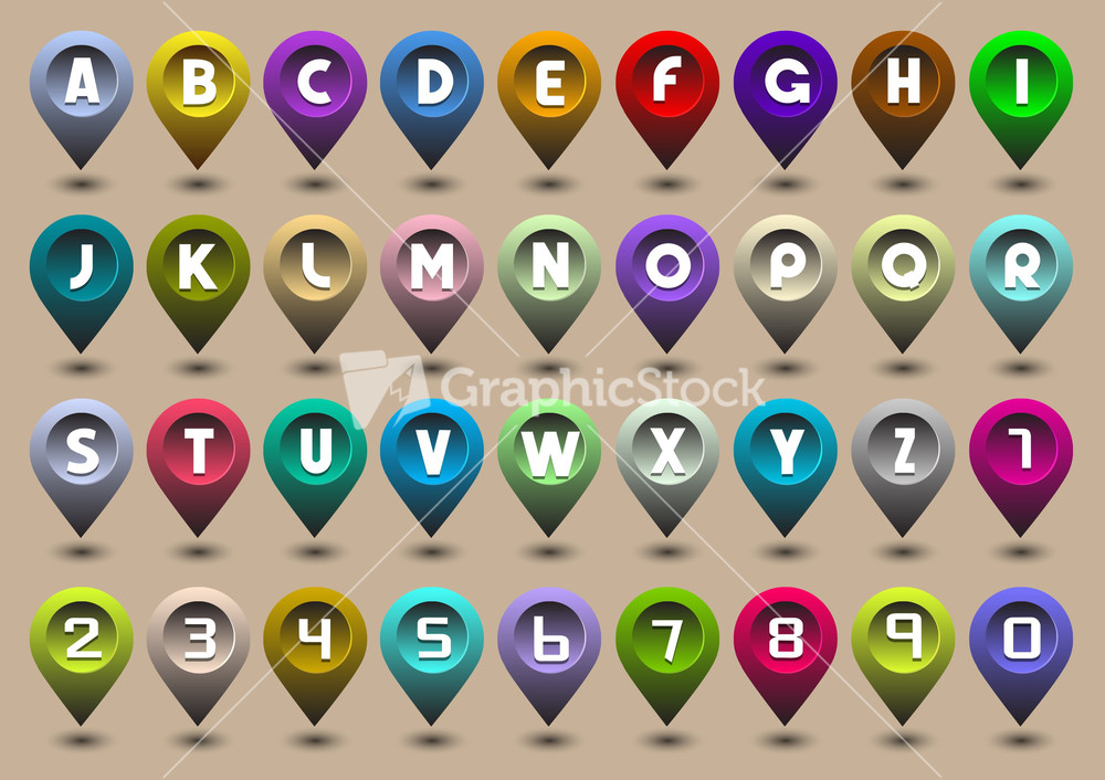 alphabet letters and numbers in the form of gps icons stock image