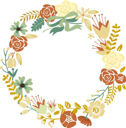 Floral Frame  Cute Retro Flowers Arranged Un A Shape Of The Wreath Perfect For Wedding