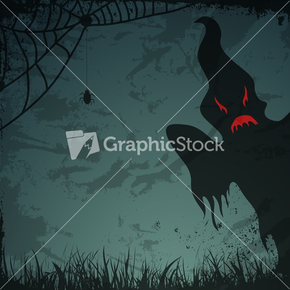 Banner Or Background For Halloween Party Night With Scary Ghost ...