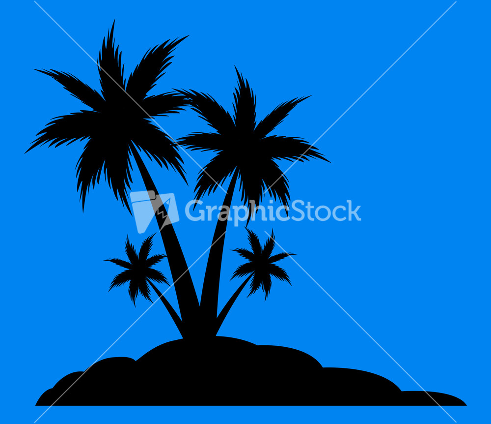 Beach Palm Trees Silhouette Stock Image