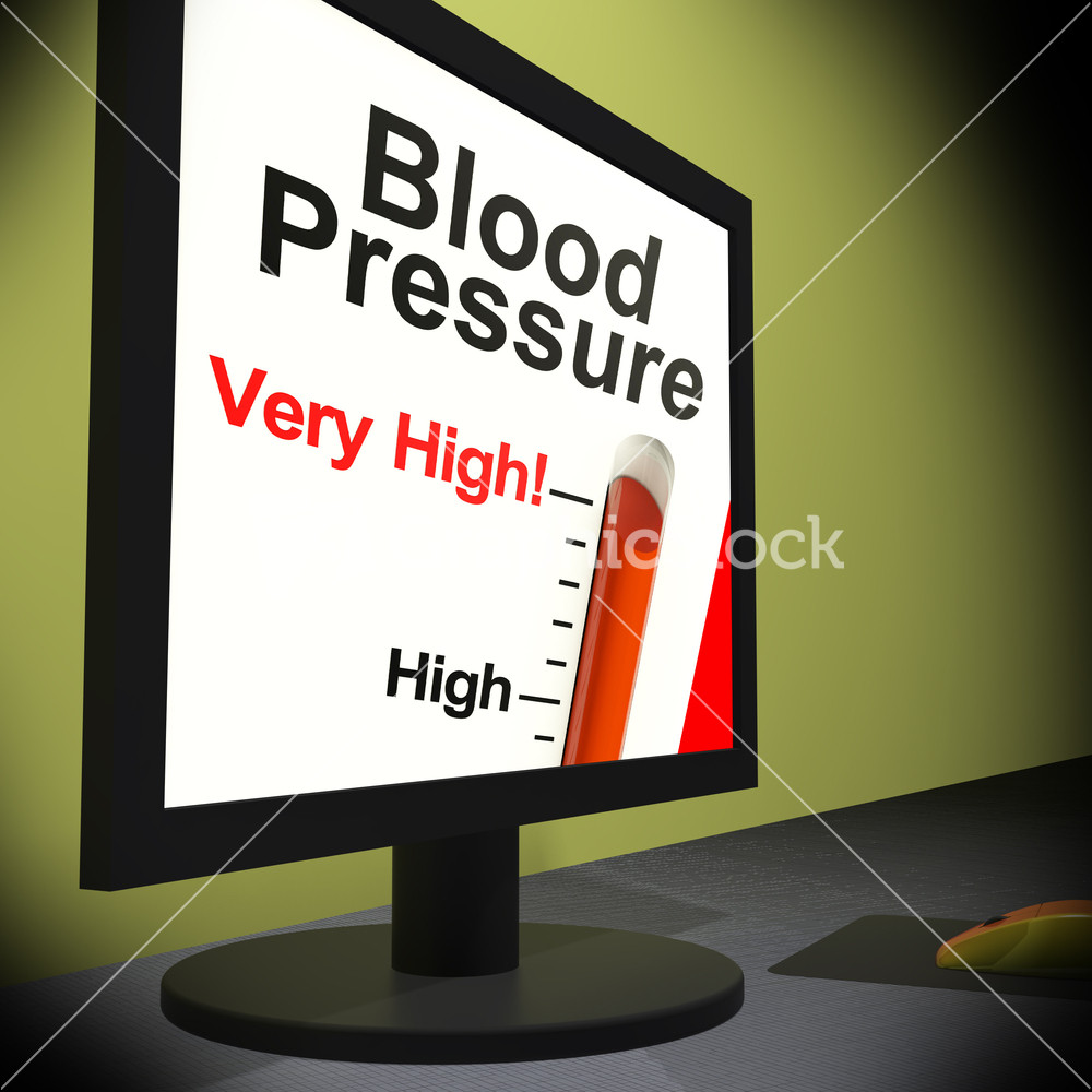 Stress Test Blood Pressure Readings: Blood Pressure On Monitor Showing Very High Levels Or