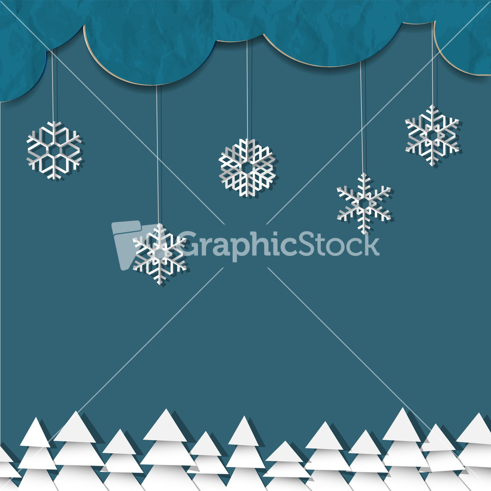 Blue Background With Paper Snowflakes