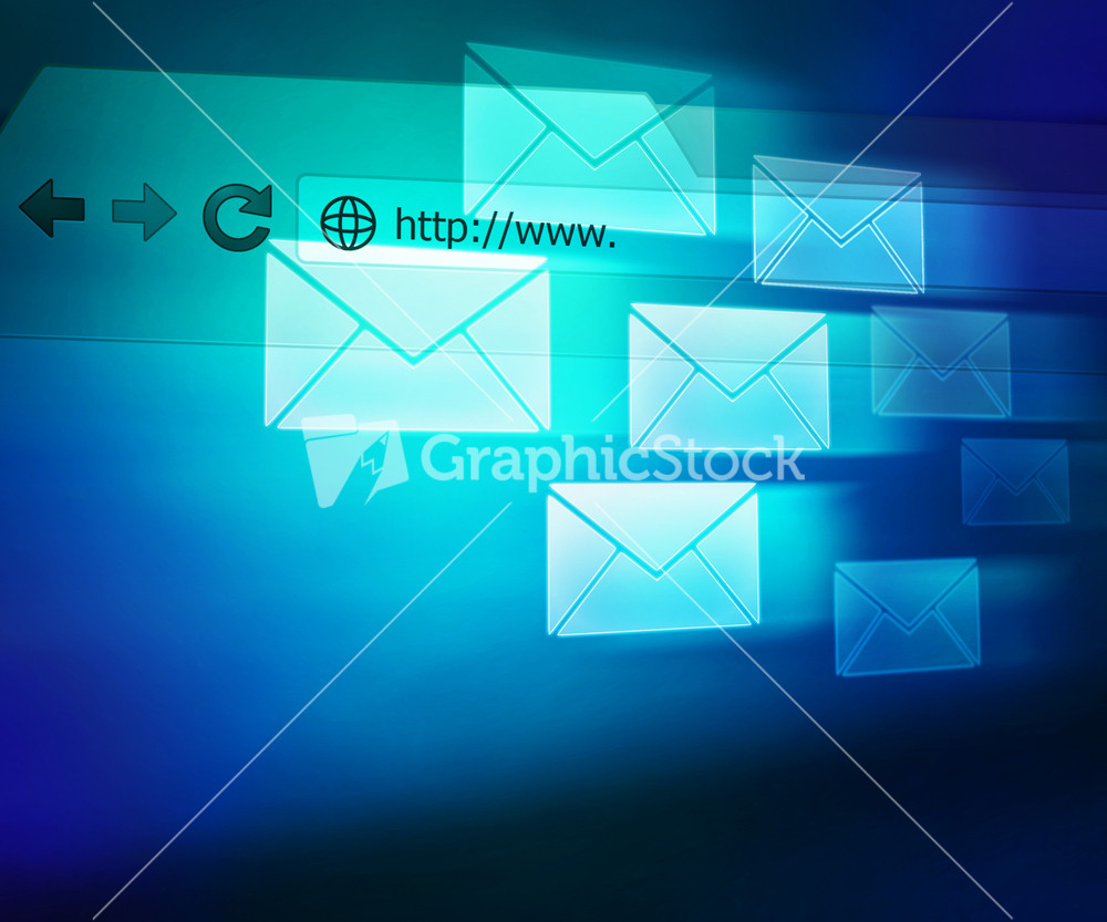 Blue Mail Abstract Background Stock Image