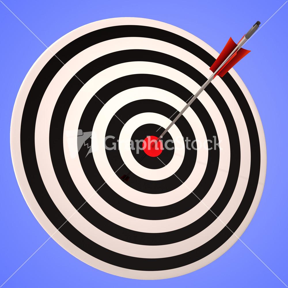 Bulls Eye Target Shows Precise Winning Strategic Goal