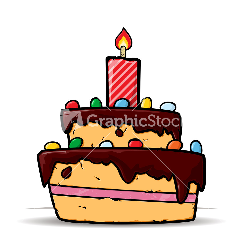 Cartoon Birthday Cake Images With Name : Cartoon Birthday Cake Card. Vector Illustration Stock Image