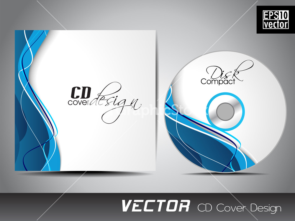 cd cover presentation design template with copy space and wave effect. Black Bedroom Furniture Sets. Home Design Ideas