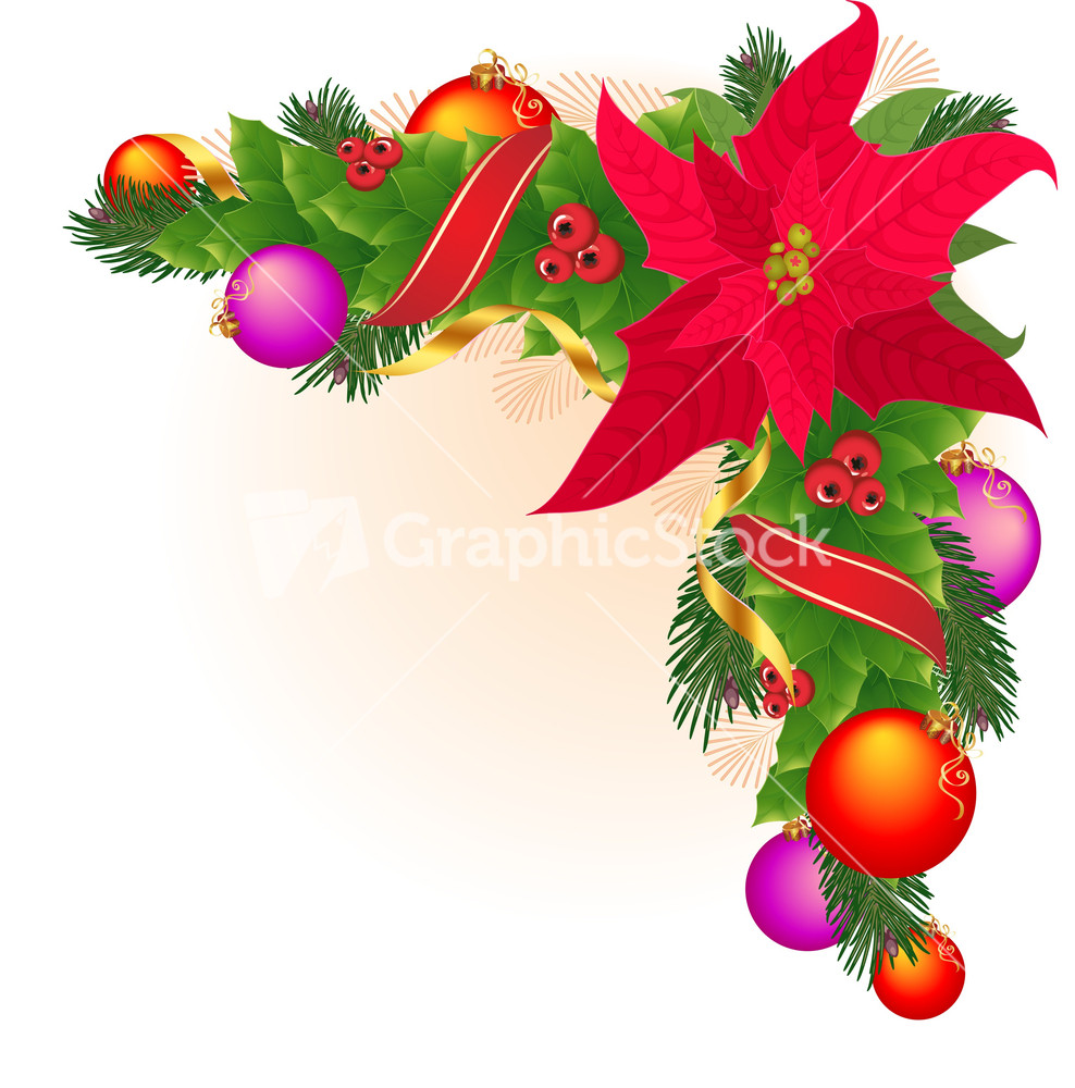 Christmas Corner Decoration With Star Holly Garland Red And Golde