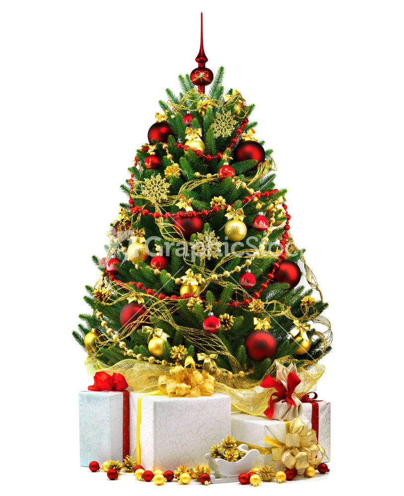 Christmas Tree Decorated White : Decorated christmas tree on white background