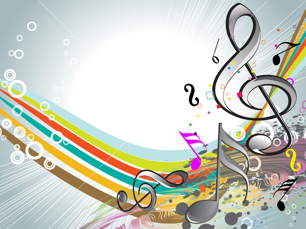 Colorful Musical Notes With Background Stock Image