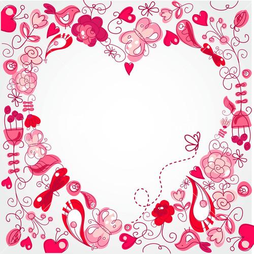 Floral Heart Card Cute Retro Flowers Arranged Un A Shape Of The Heart