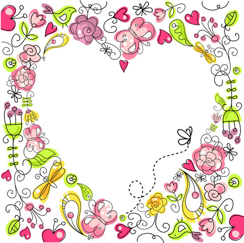 Floral Heart Card Cute Retro Flowers Arranged Un A Shape Of The Heart