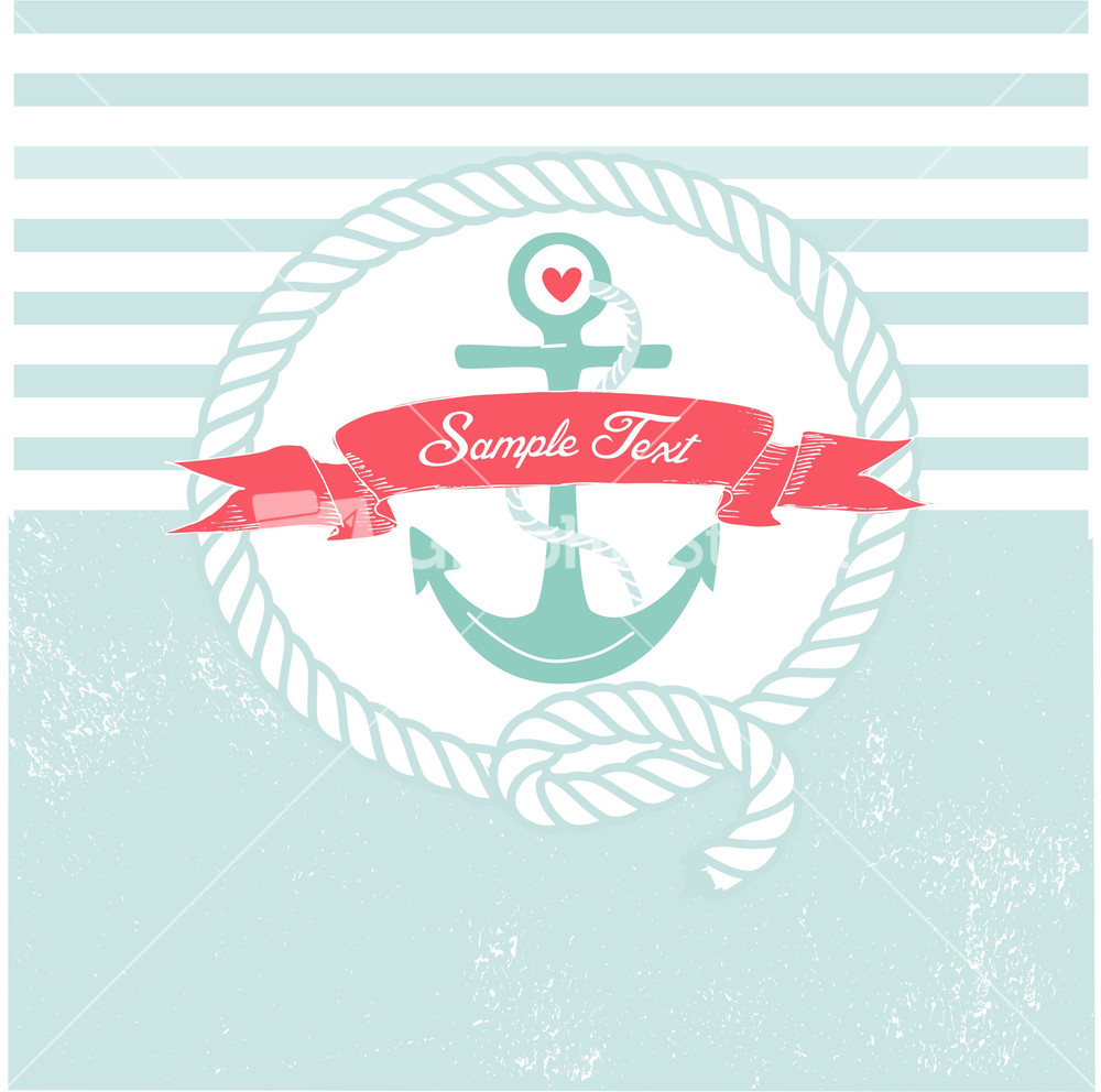 cute nautical background with anchor stock image