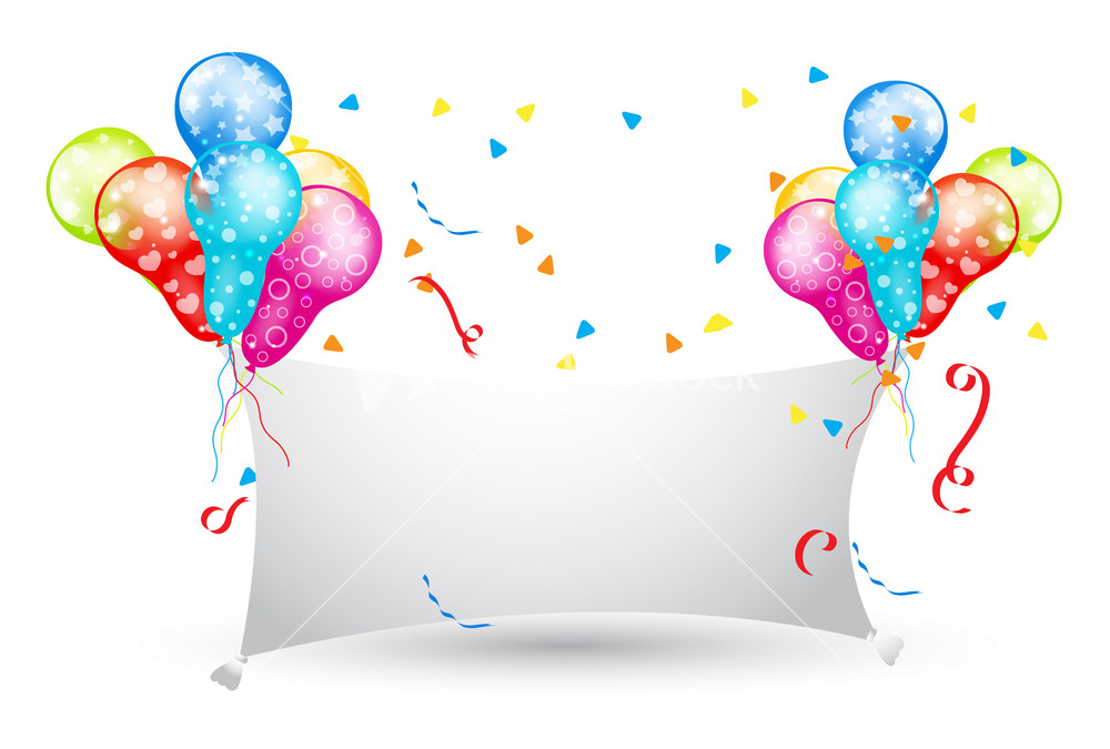 Decorative Party Balloons Banner Design Stock Image