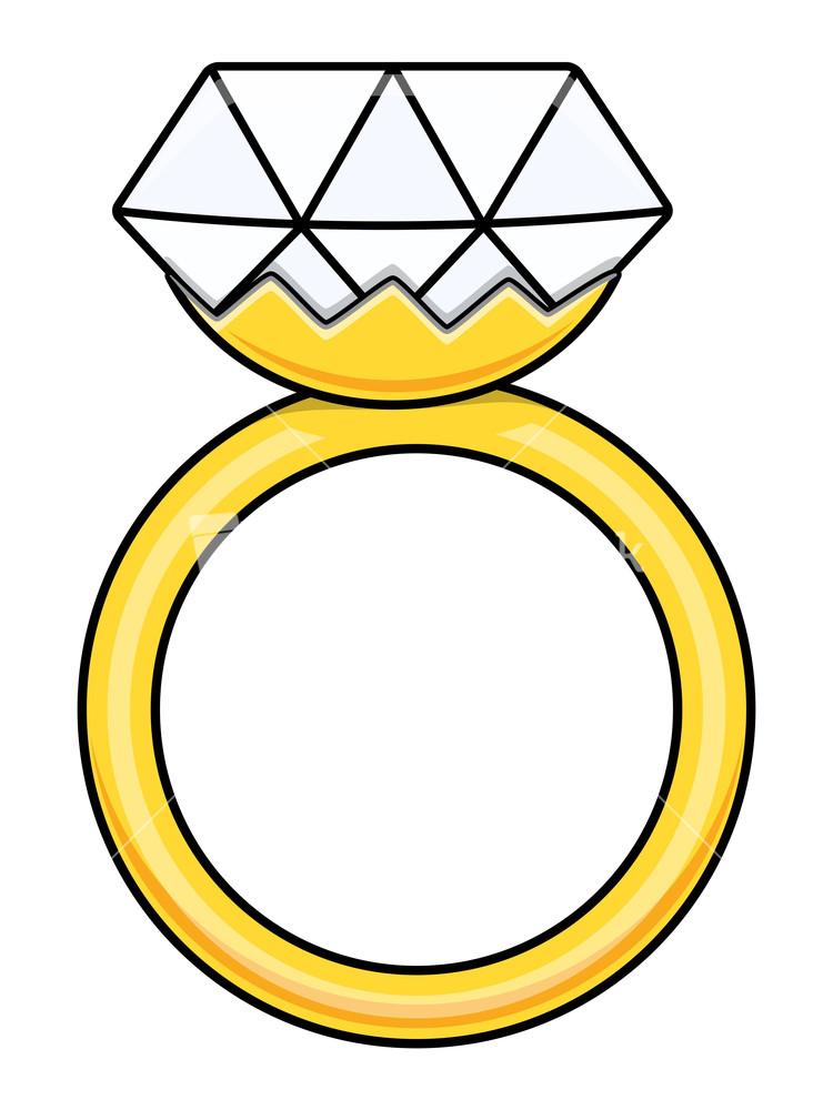 Diamond Ring - Cartoon Vector Illustration Stock Image