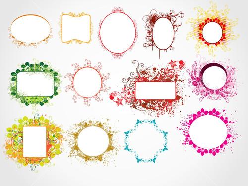 Different Glasses Frame Shapes : Set Of Vintage Frames. Vector Illustration