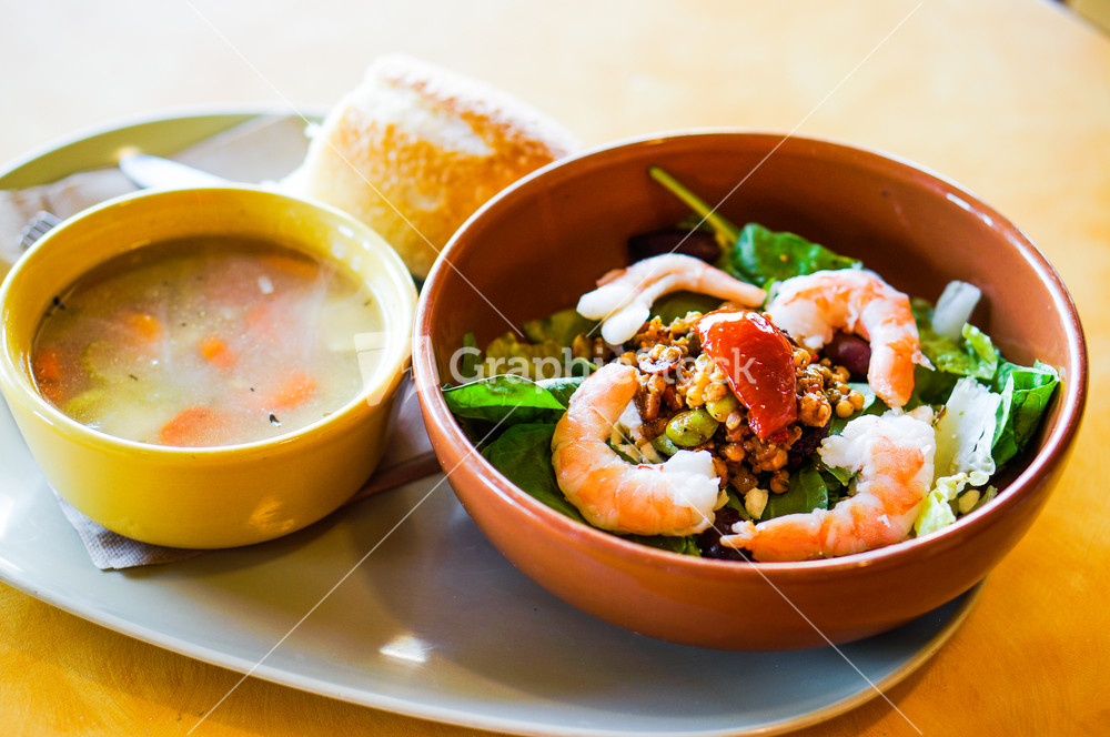 Lunch:thai Salad With Shrimp And Chicken Noodle Soup Stock Image