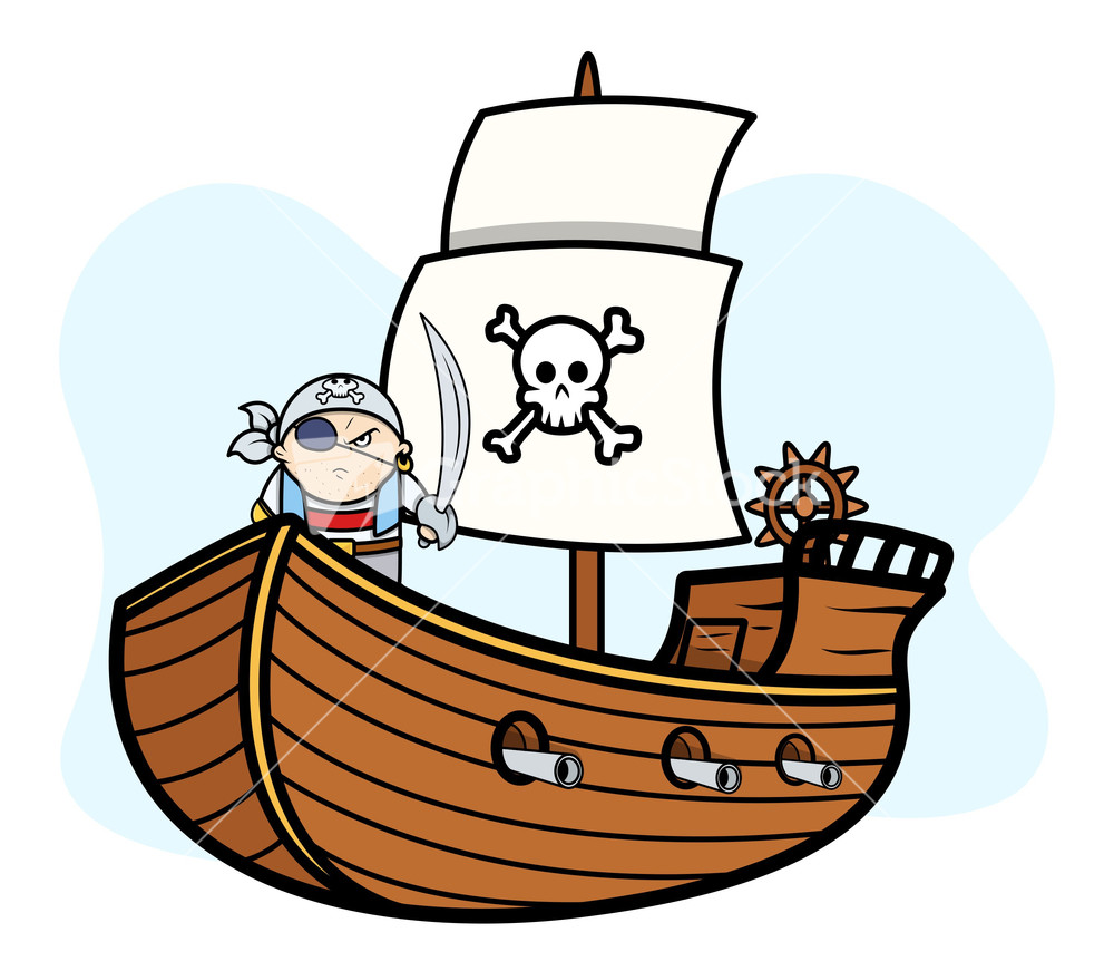 Patched Captain Pirate On Ship Vector Cartoon Illustration