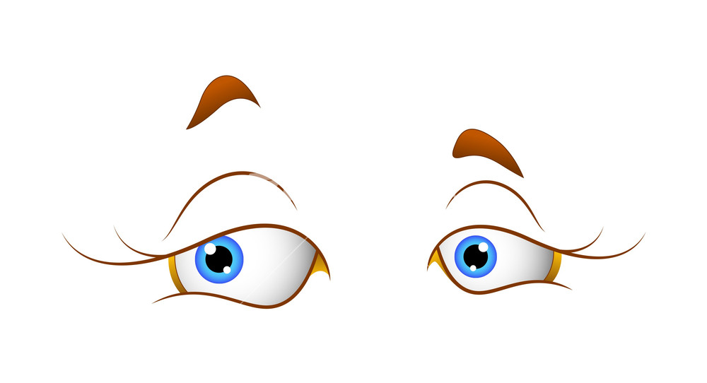 Cute Female Cartoon Eyes Stock Image