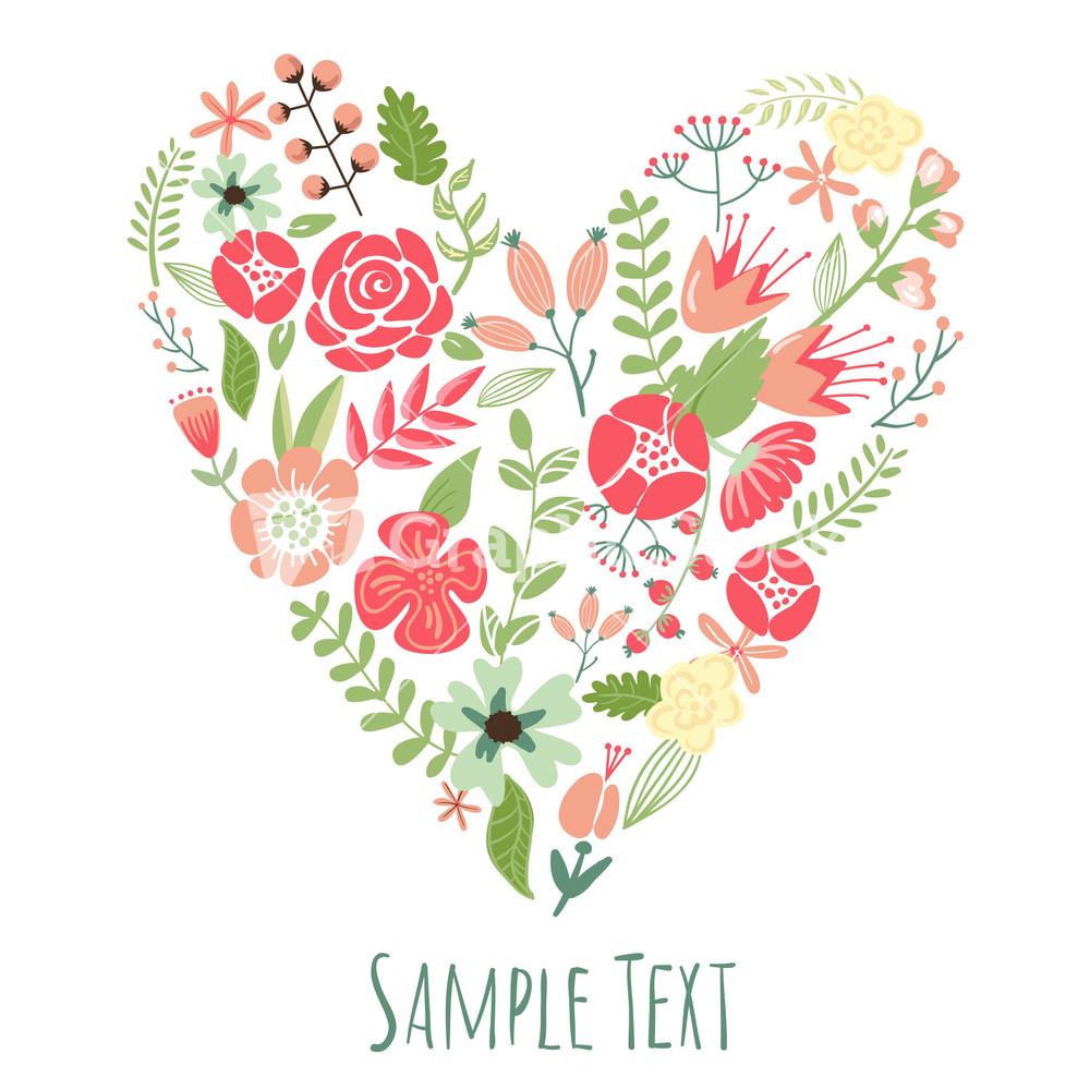floral heart card. cute retro flowers arranged un a shape of the, Beautiful flower