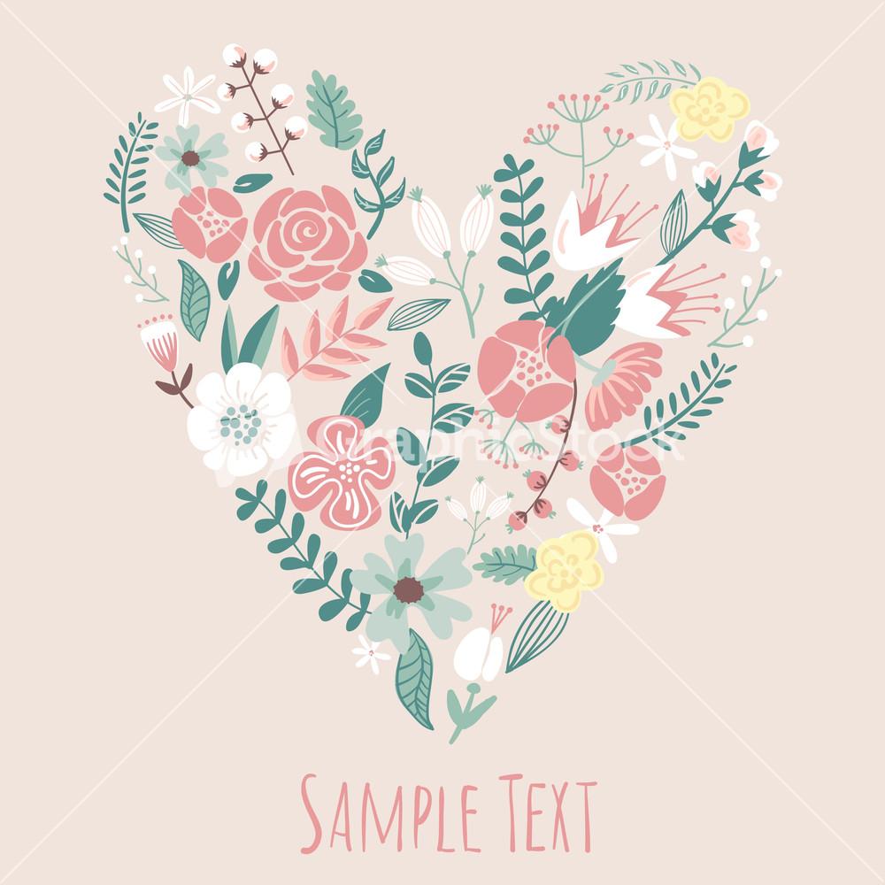 Floral Heart Card Cute Retro Flowers Arranged Un A Shape Of The Heart ...