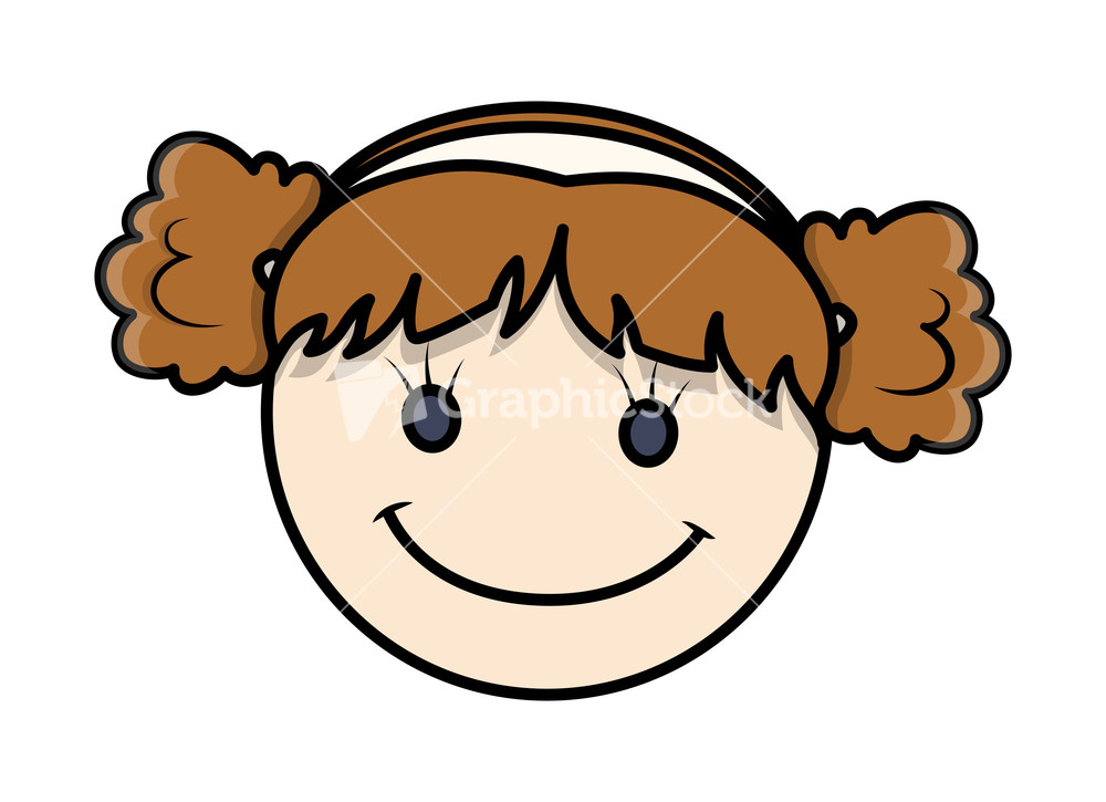 Funny Cartoon Girl Face Expression Stock Image
