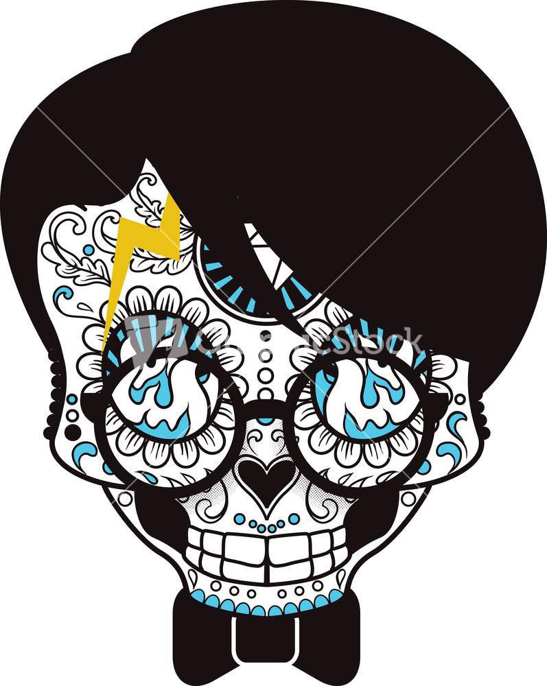 T shirt design vector - Funny Sugar Skull Vector T Shirt Design