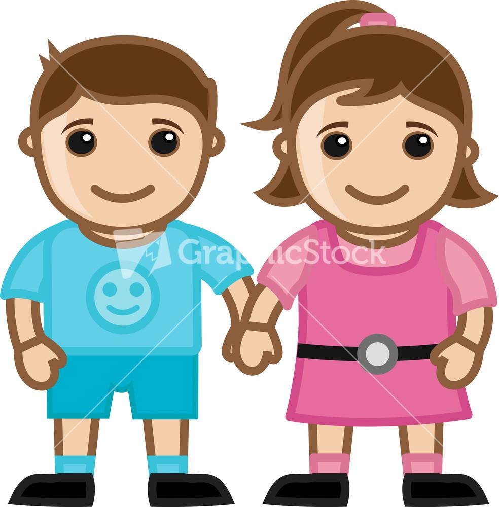 Cute cartoon boy and girl