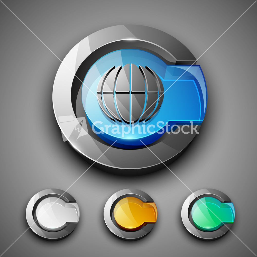Glossy 3d web 2 0 internet browser symbol icon set 3d web browser