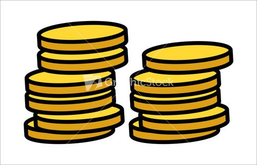 Cartoon Gold Coins Clipart - Vector Illustration Stock Image