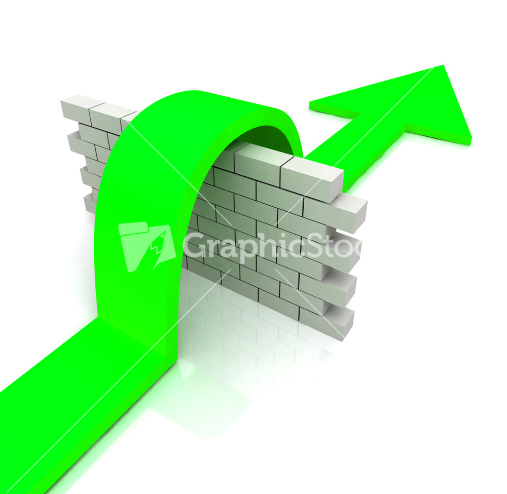 Green Arrow Over Wall Means Overcome Obstacles