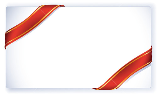 Greeting Card With Red Ribbon And Bow. Vector. Stock Image