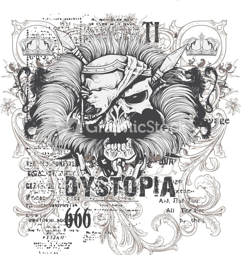 T shirt design vectors - Grunge Vector T Shirt Design With Warrior Skull