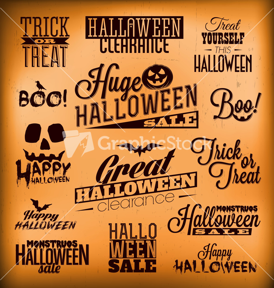 Vintage style ornaments - Halloween Calligraphic Designs Retro Style Elements Vintage Ornaments Sale