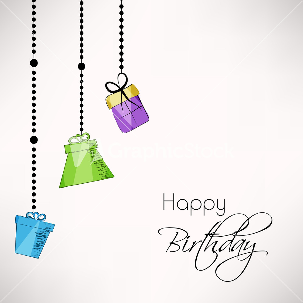 Happy Birthday Label Or Tag Tied With Golden Ribbon – Happy Birthday Greeting Text