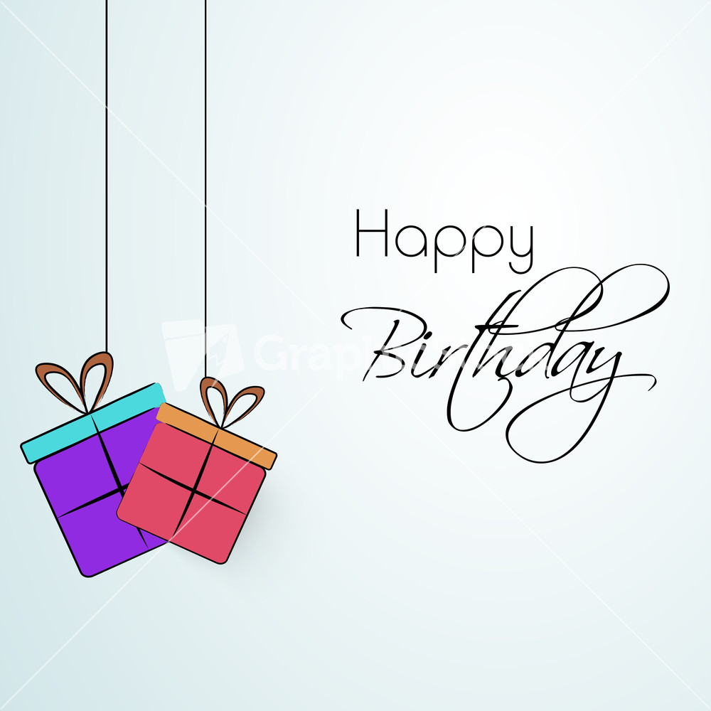 happy birthday greeting cards with smiliy gift boxes, Birthday card