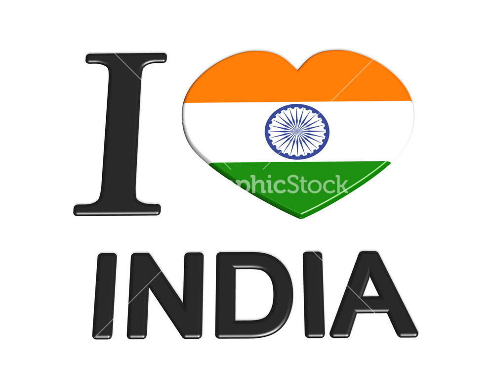 I Love India Logo Flag Love Travel Tourism Stock Image
