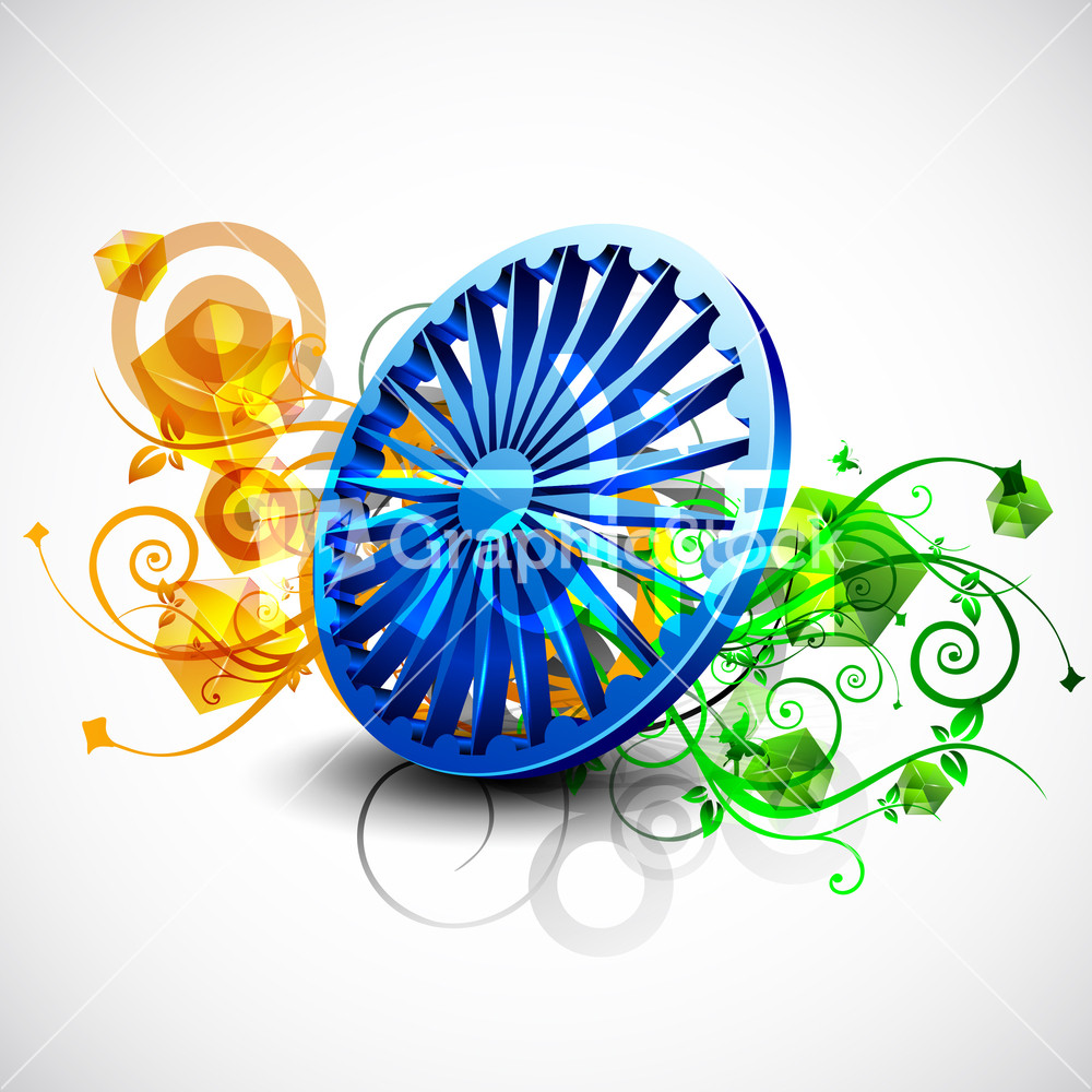 Colors website ashoka - Indian Flag Color Creative Floral Background With 3d Asoka Wheel