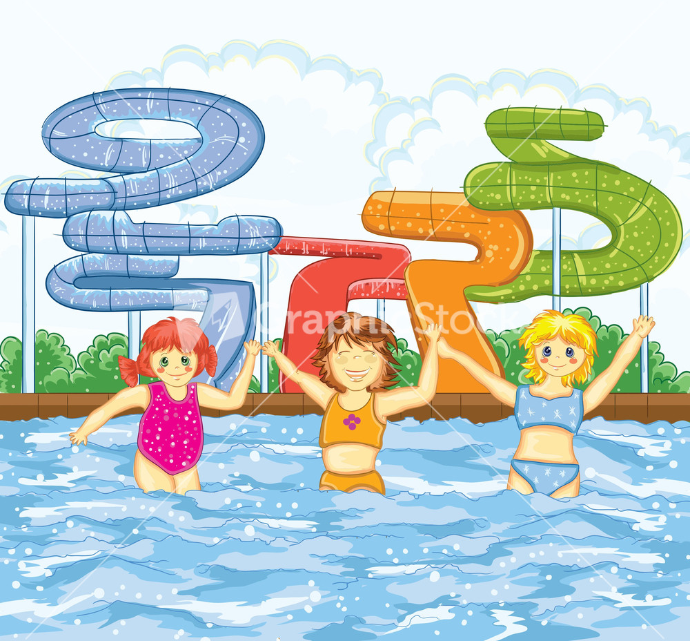 Cartoon Swimming Pool : Kids playing in the swimming pool vector illustration