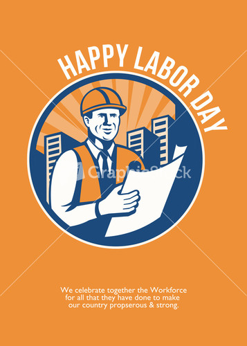 Happy Labor Day Retro Poster Greeting Card Stock Image