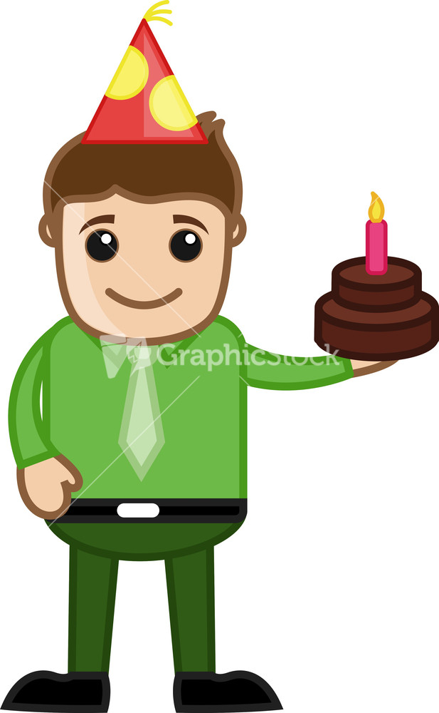 Birthday Cake Images With Cartoon Character : Man With Birthday Cake - Cartoon Business Character
