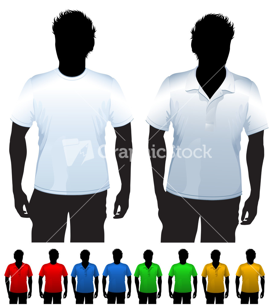 Men's T-shirt And Polo Shirt Design Template. With Black Body ...