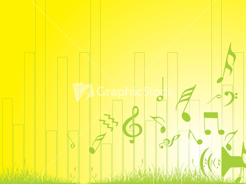 music notes and grass on yellow background wallpaper stock