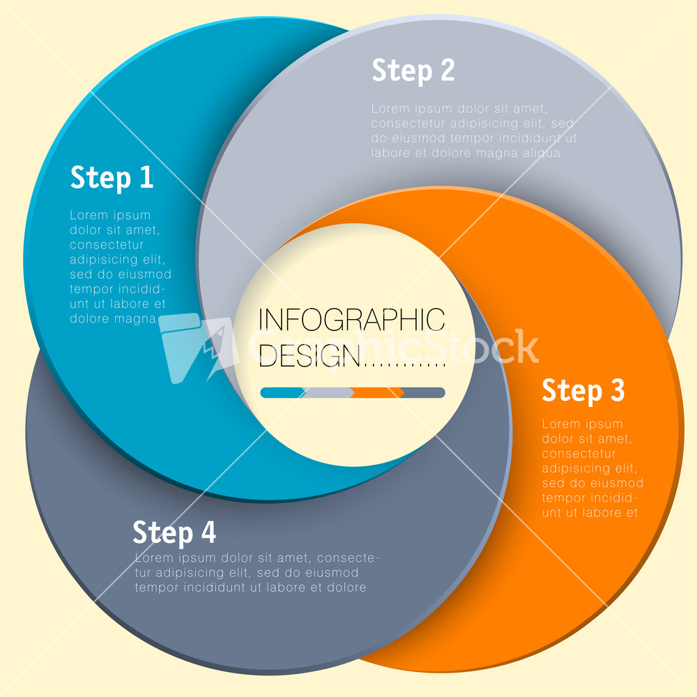 Paper Circle Vector Infographic Step By Step Flat Design Template – Paper Design Template