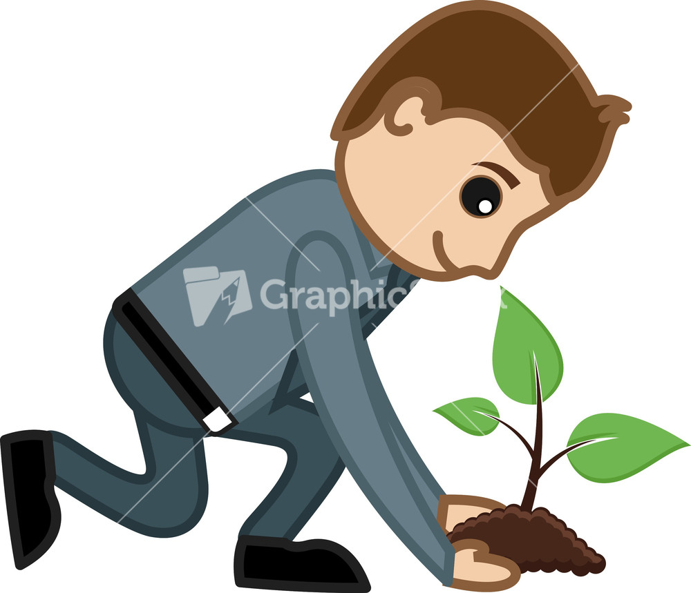 Tree Planting Cartoon planting a tree - vector character cartoon ...