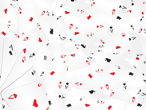 Poker Table Set Background With Playing Cards