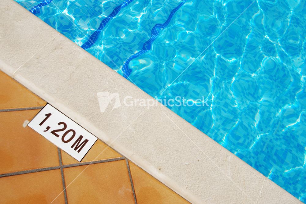 Pool Depth Sign At The Edge Of The Swimming Pool