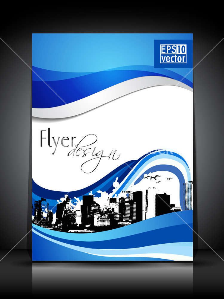 Business flyer template or brochure design in blue and white color – Blue Flyer Template