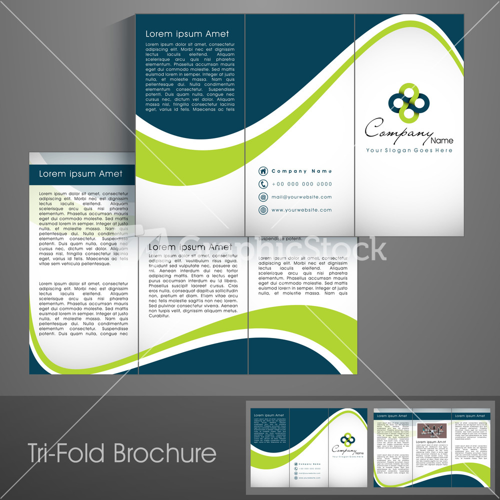 Professional Business Three Fold Flyer Template Stock Image