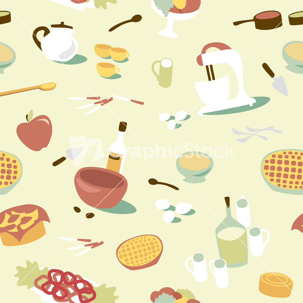 Retro Kitchen Illustration: Retro Seamless Kitchen Pattern. Vector Illustration Stock